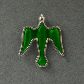 Значок на цанге Голубь, зеленый, металл под серебро (ЗЦк-12)