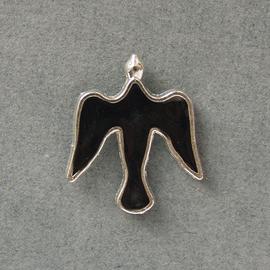 Значок на цанге Голубь, черный, металл под серебро (ЗЦк-9)