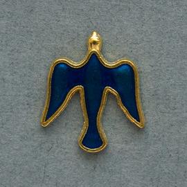 Значок на цанге Голубь, синий, металл под золото (ЗЦк-5)