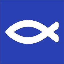 Наклейка Мини 5х5 см Белая Рыбка на фиолетовом фоне