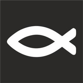 Наклейка Мини 5х5 см Белая Рыбка на черном фоне