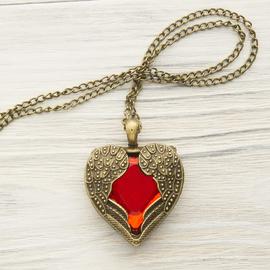 """Кулон """"Красное сердце и крылья ангела"""" под бронзу"""