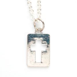 Кулон на цепочке - Крестик вырубка в прямоугольнике (под серебро)