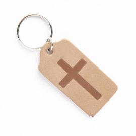 """Брелок """"Крест в прямоугольнике"""" из натуральной кожи(коричневый матовый)"""
