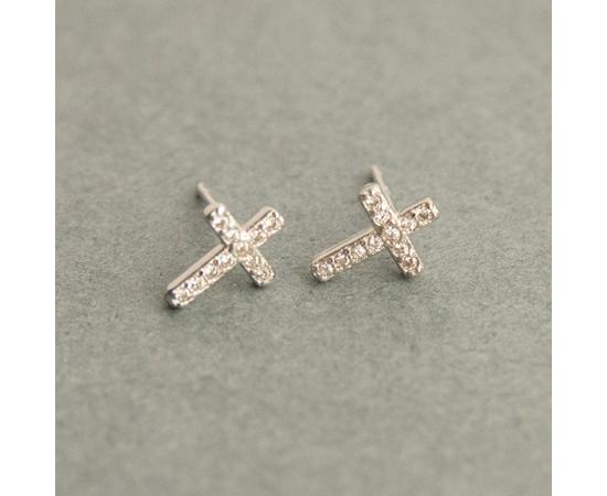 Серьги-гвоздики под серебро, Крестик со стразами маленький (СКМк-13)