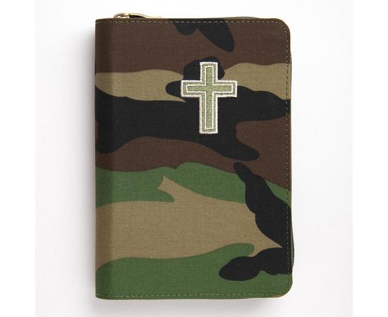 Библия (12х17,5см, камуфляжная тканевая обложка, зелёный обрез, молния)