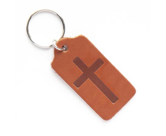 """Брелок """"Крест в прямоугольнике"""" из натуральной кожи (коричневый)"""